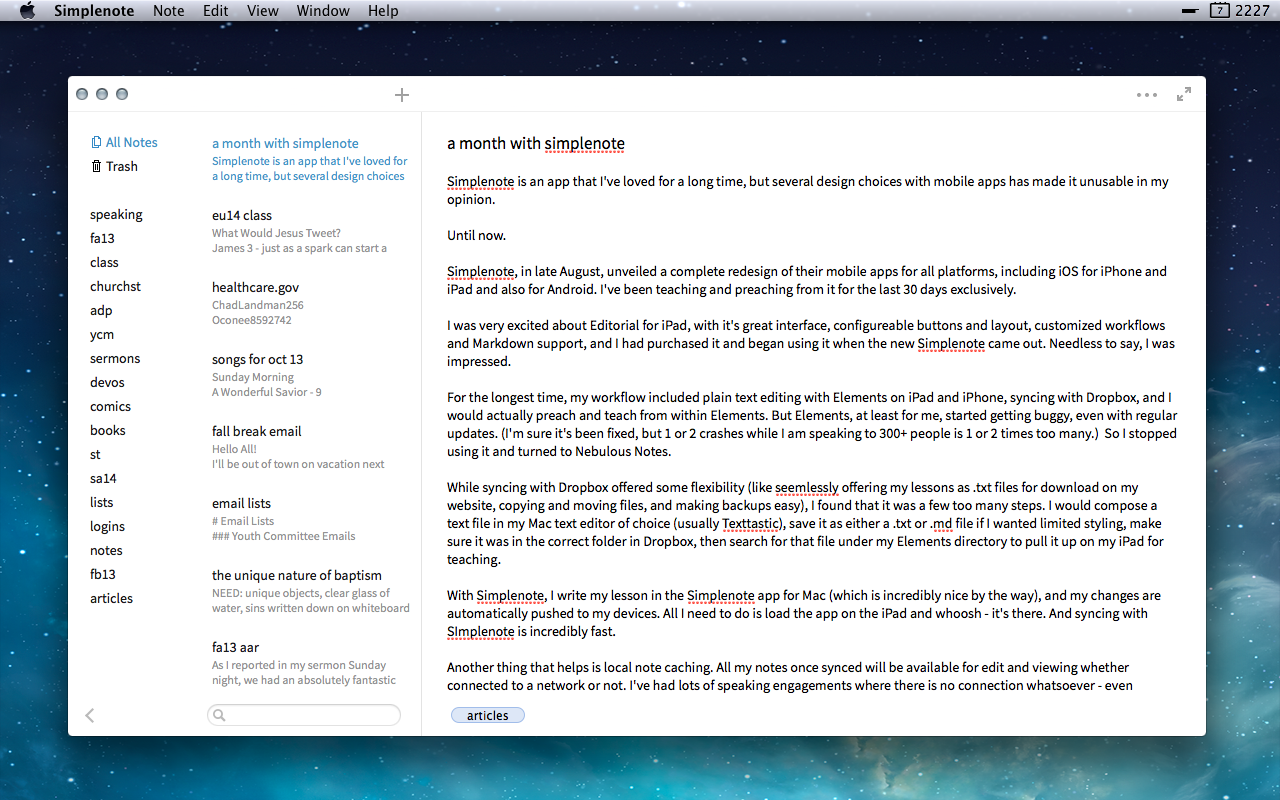 Simplenote Mac app. Click for larger.