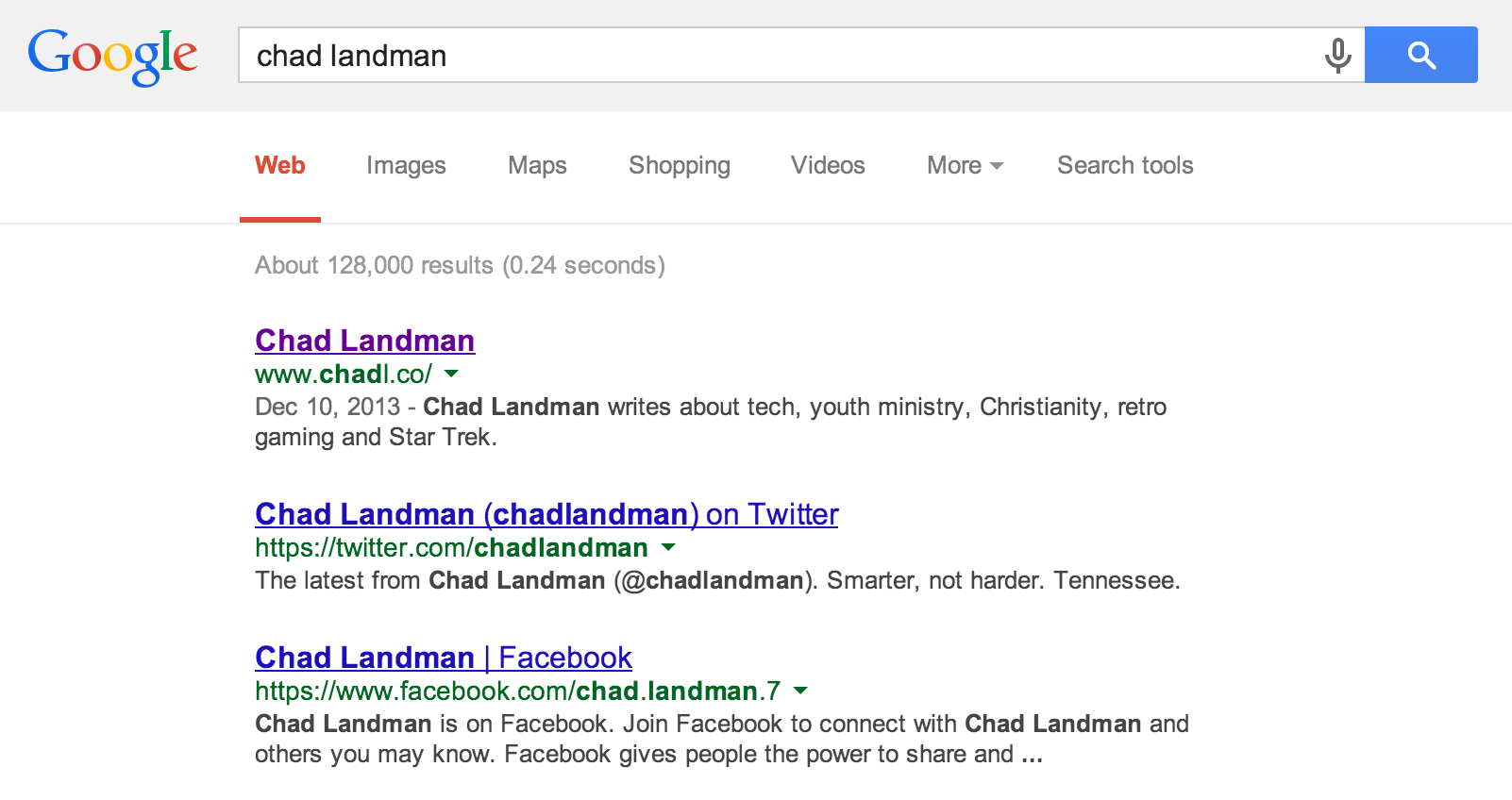 How my site appears in Google search rankings after having my domain for just over a year.