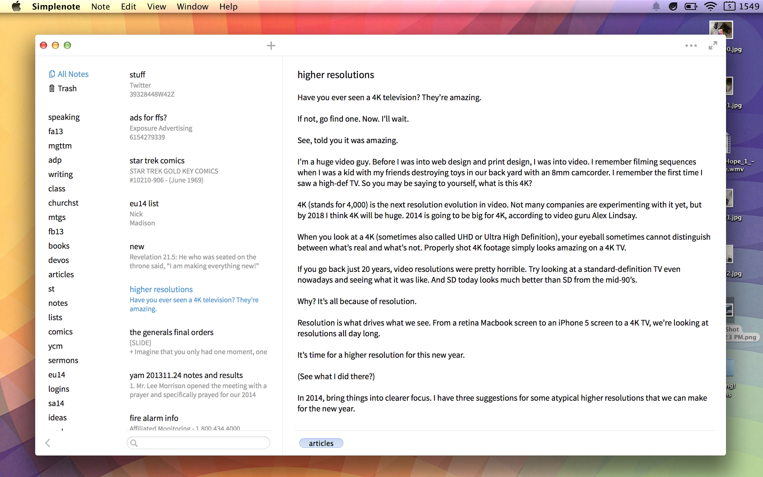 Simplenote for Mac.