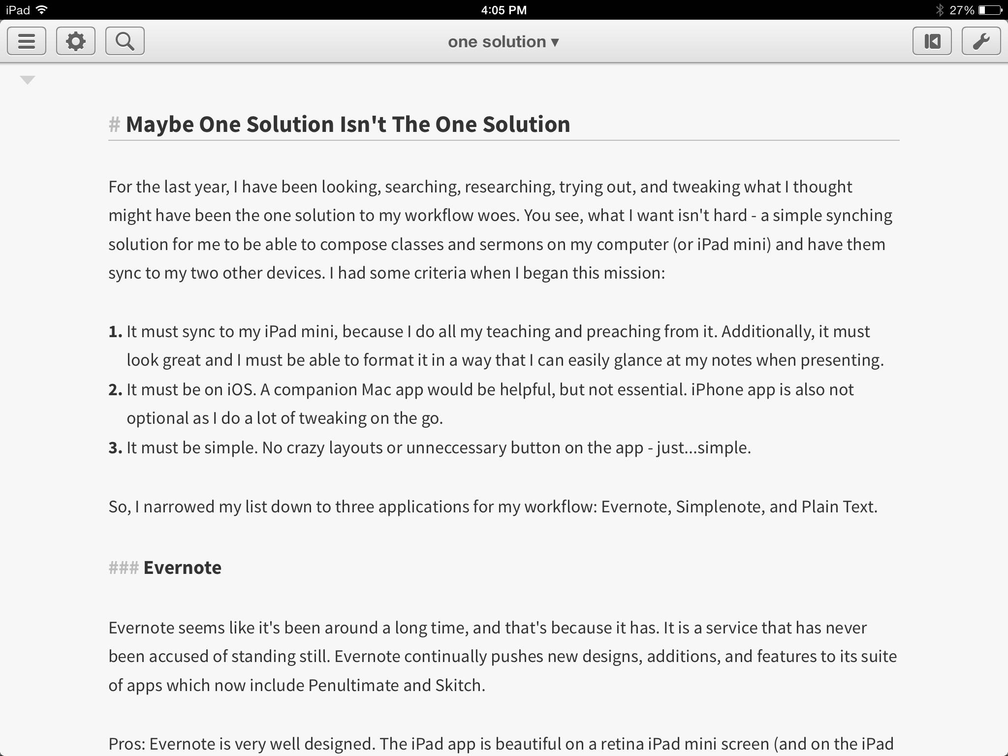 Editorial for iPad.