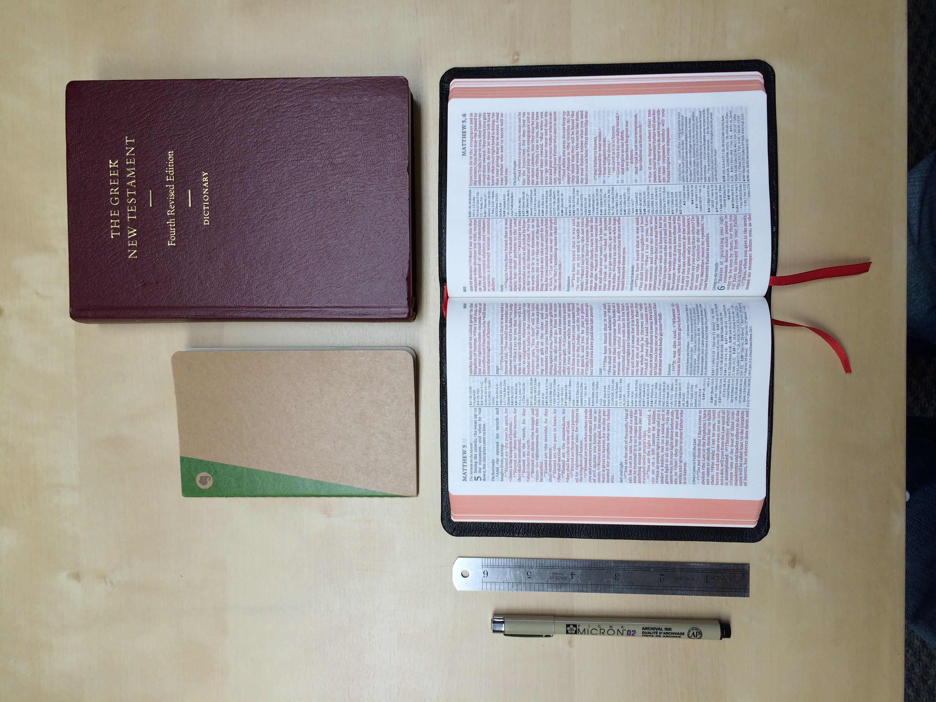 The Cambridge ESV Bible (bottom) in size as compared to other objects. Click for larger view.