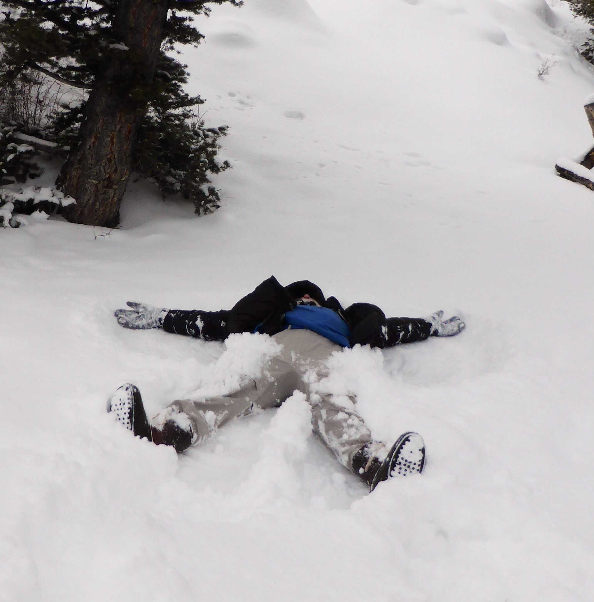 I try to make at least one snow angel per trip. Sometimes the entire group will layout snow angelsin a line, 15 or 16 long. This day it was just me.
