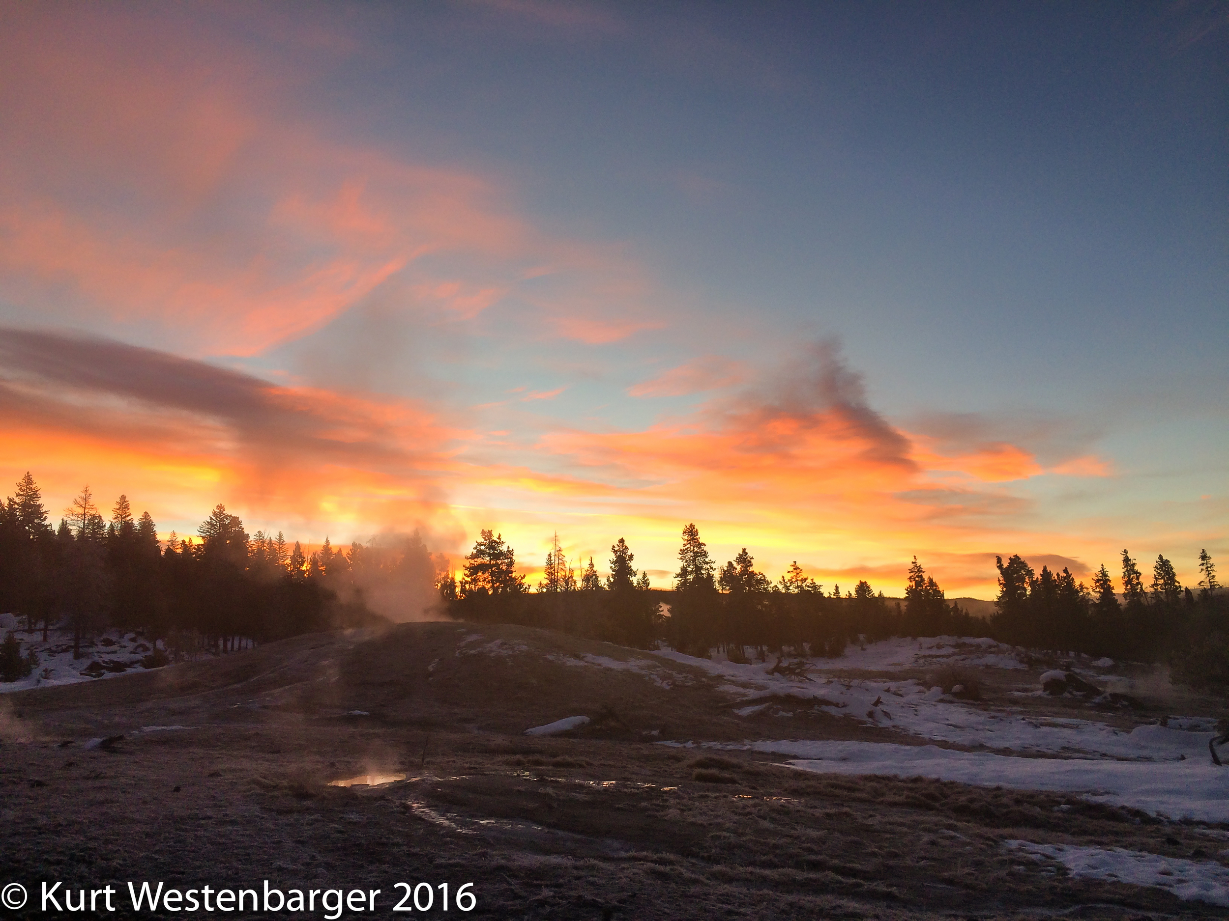 Sunrise in the Upper Geyser Basin. iPhone 5s