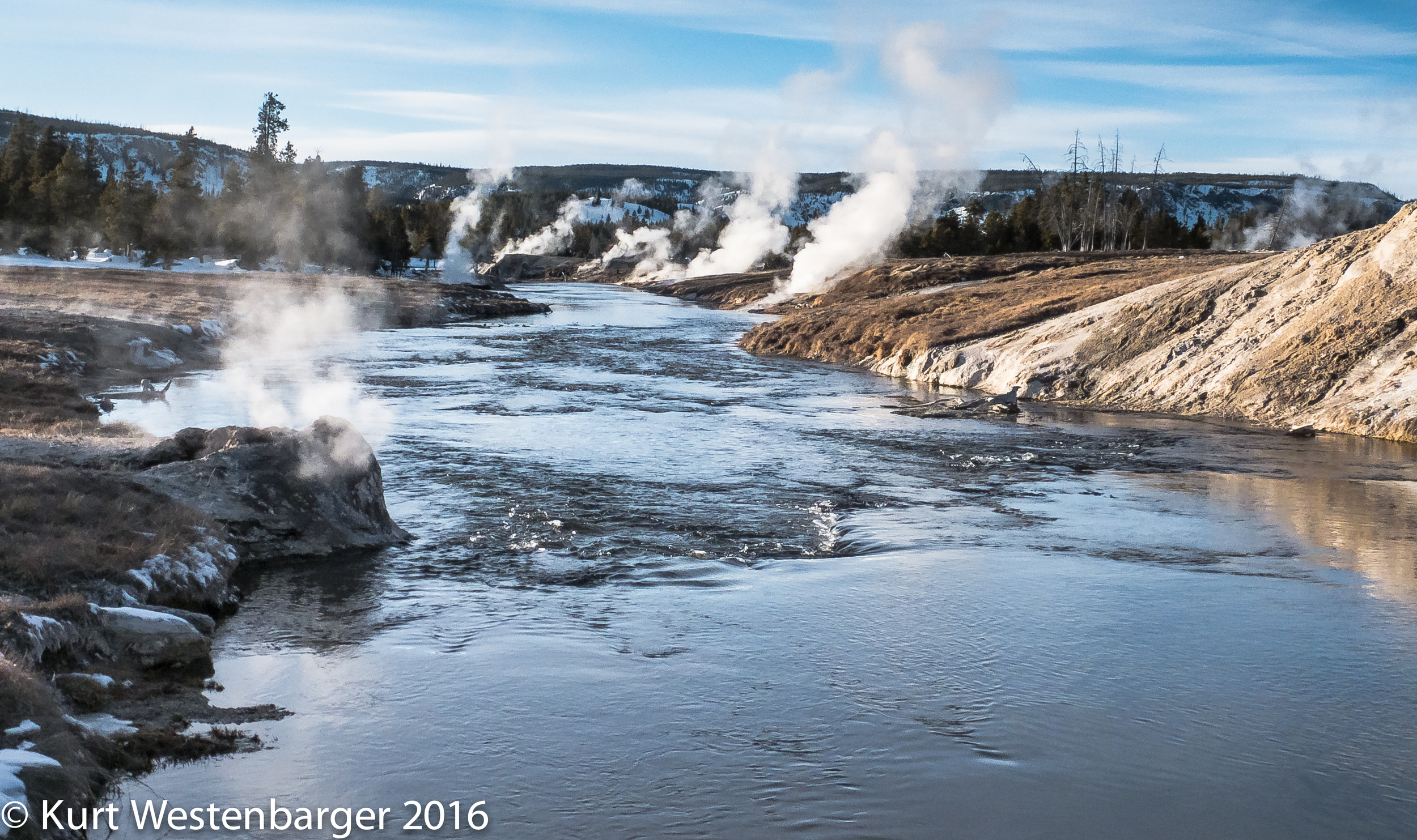 Morning steam along the Firehole River