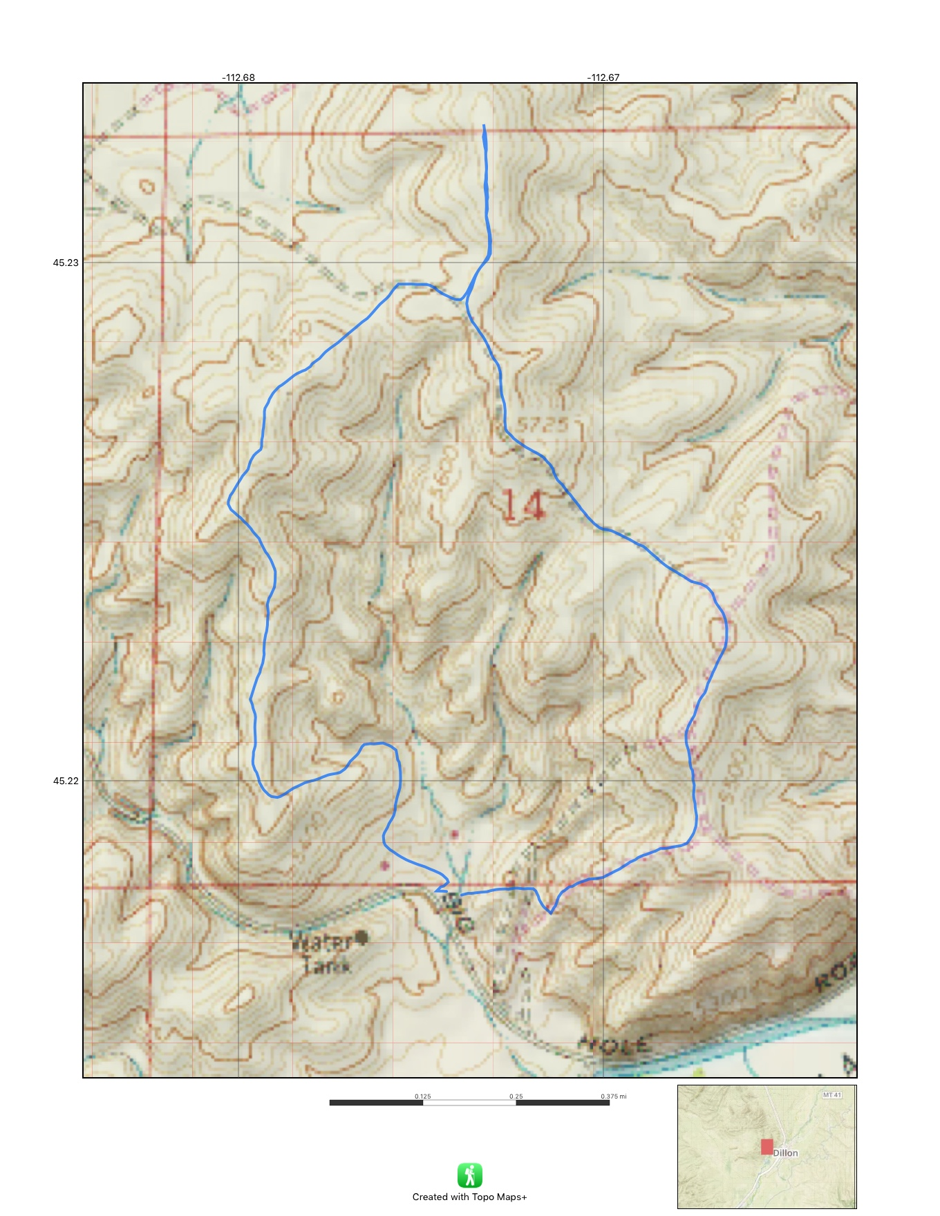 My favorite 3.11 mile route along the Dillon Town Overlook Trail takes about 1.25 hours at a pretty fair pace.