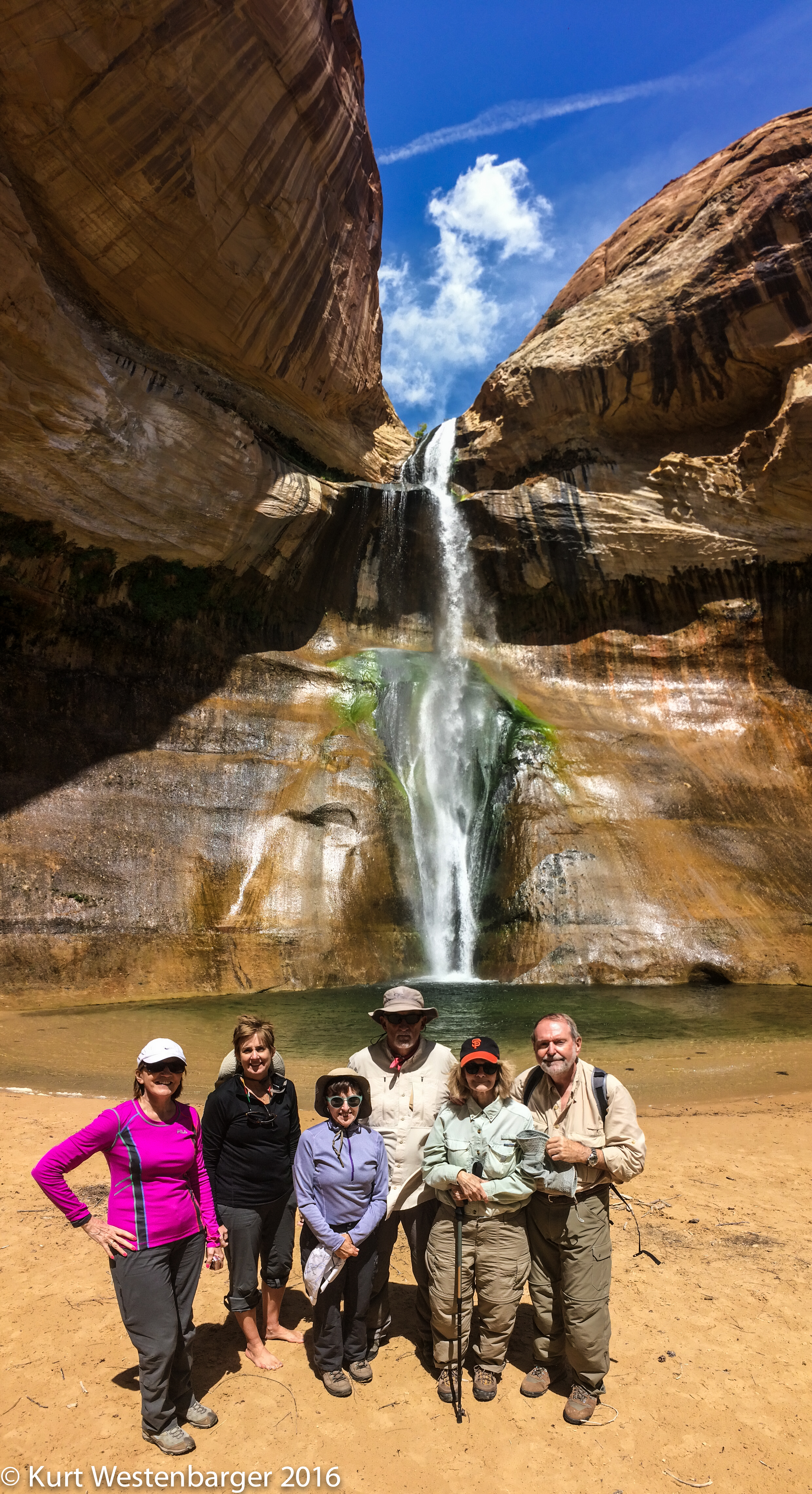This trip's group enjoying Calf Creek Falls in Grand Staircase-Escalante National Monument.