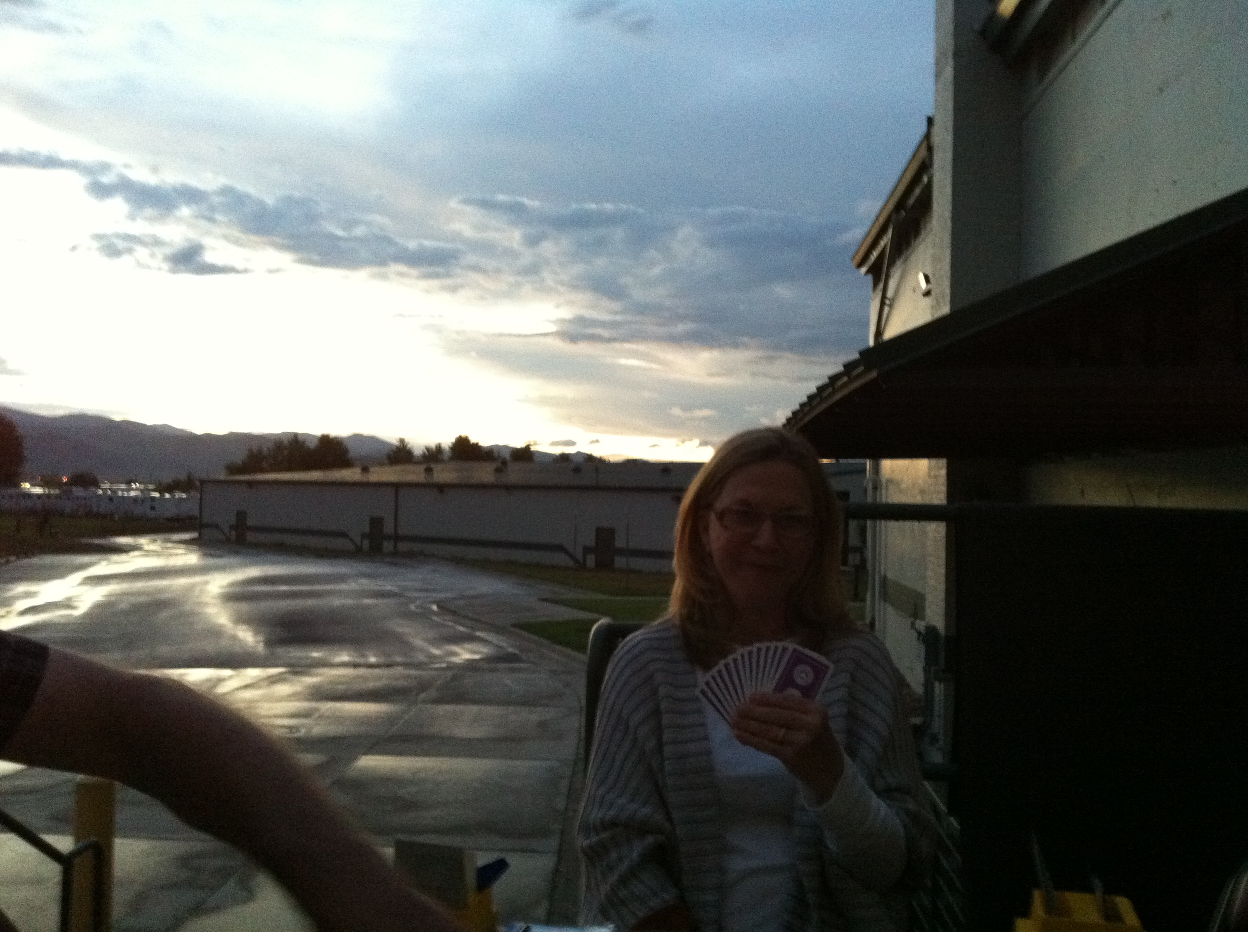 Judy playing bridge in the outdoors Golden July 11.JPG