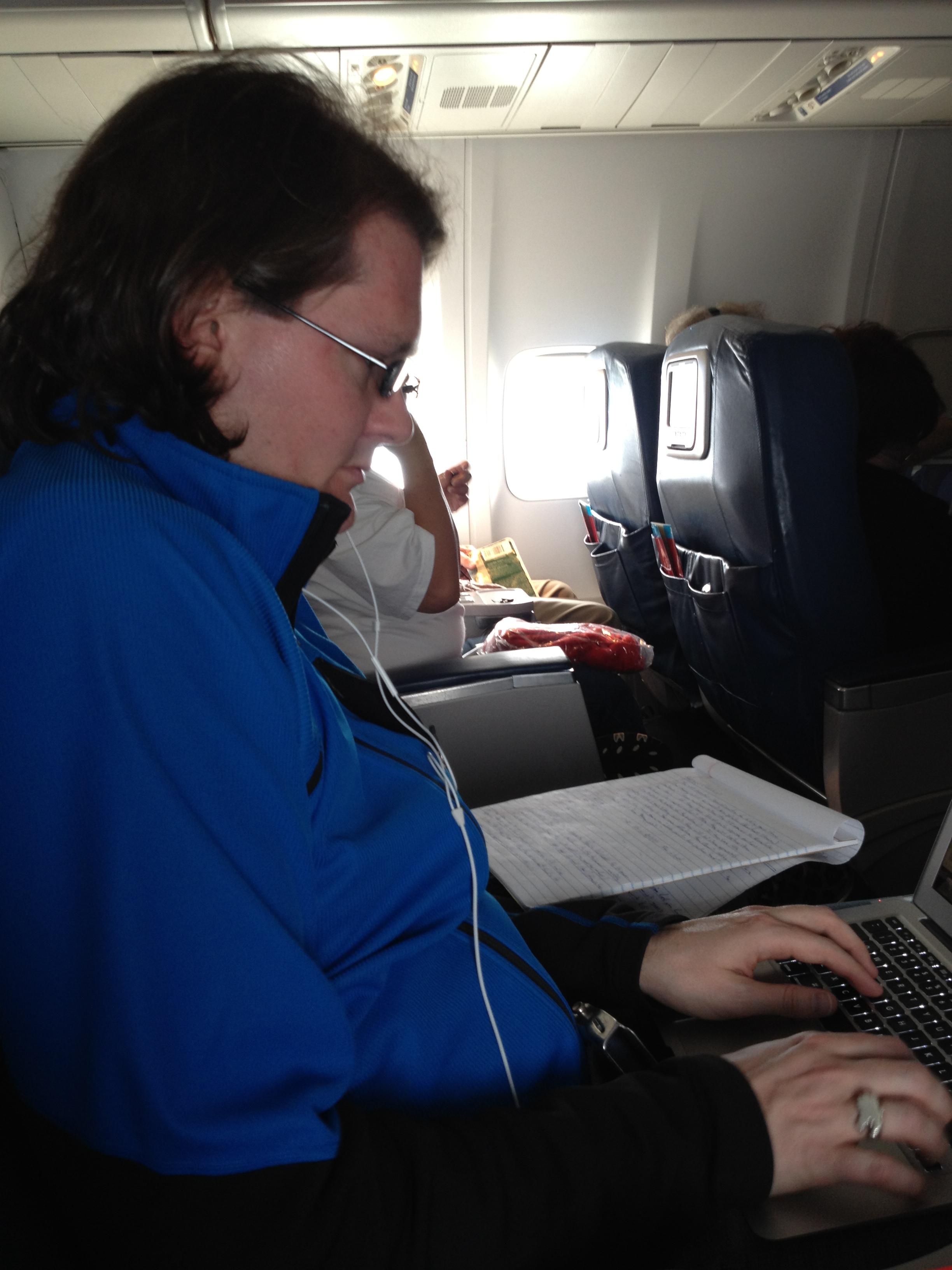 Robert works on the plane - Bermuda 2012