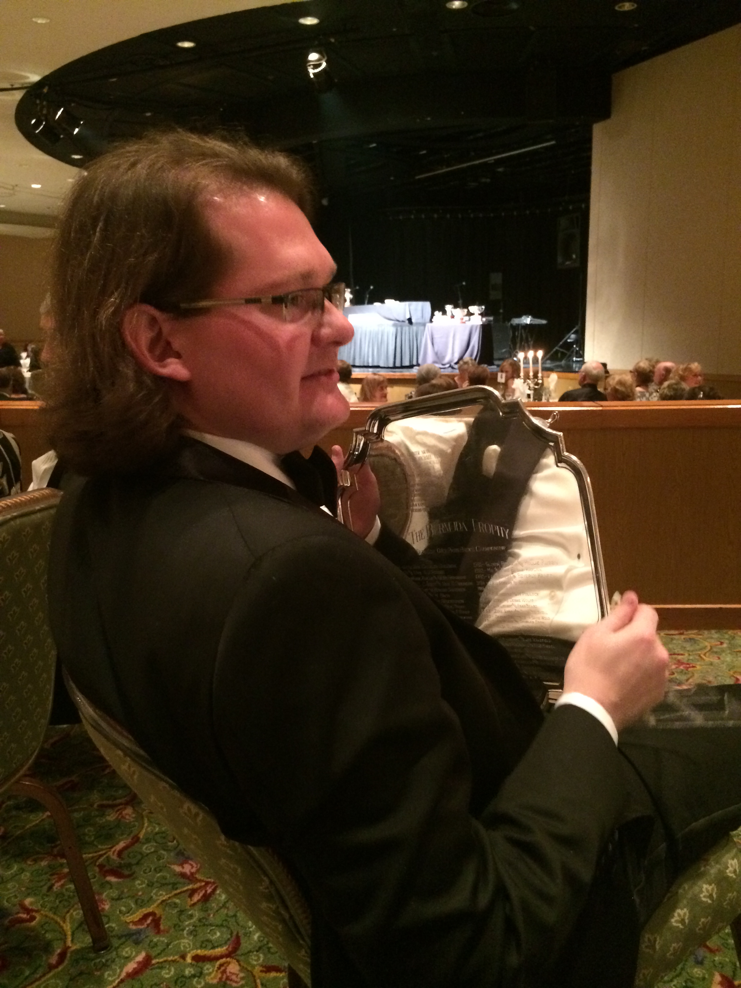 Robert contemplates his trophy, Bermuda