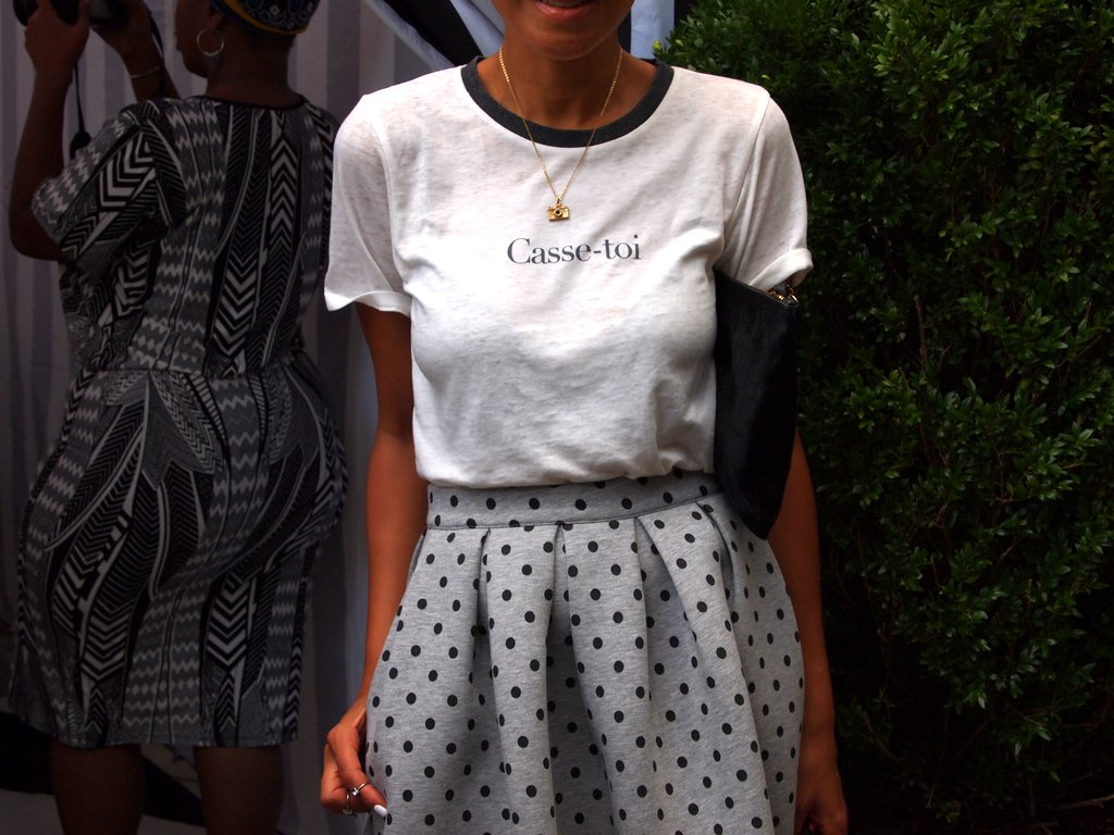 """Roughly translated. """"P*** Off!' Love this  H&M  skirt."""