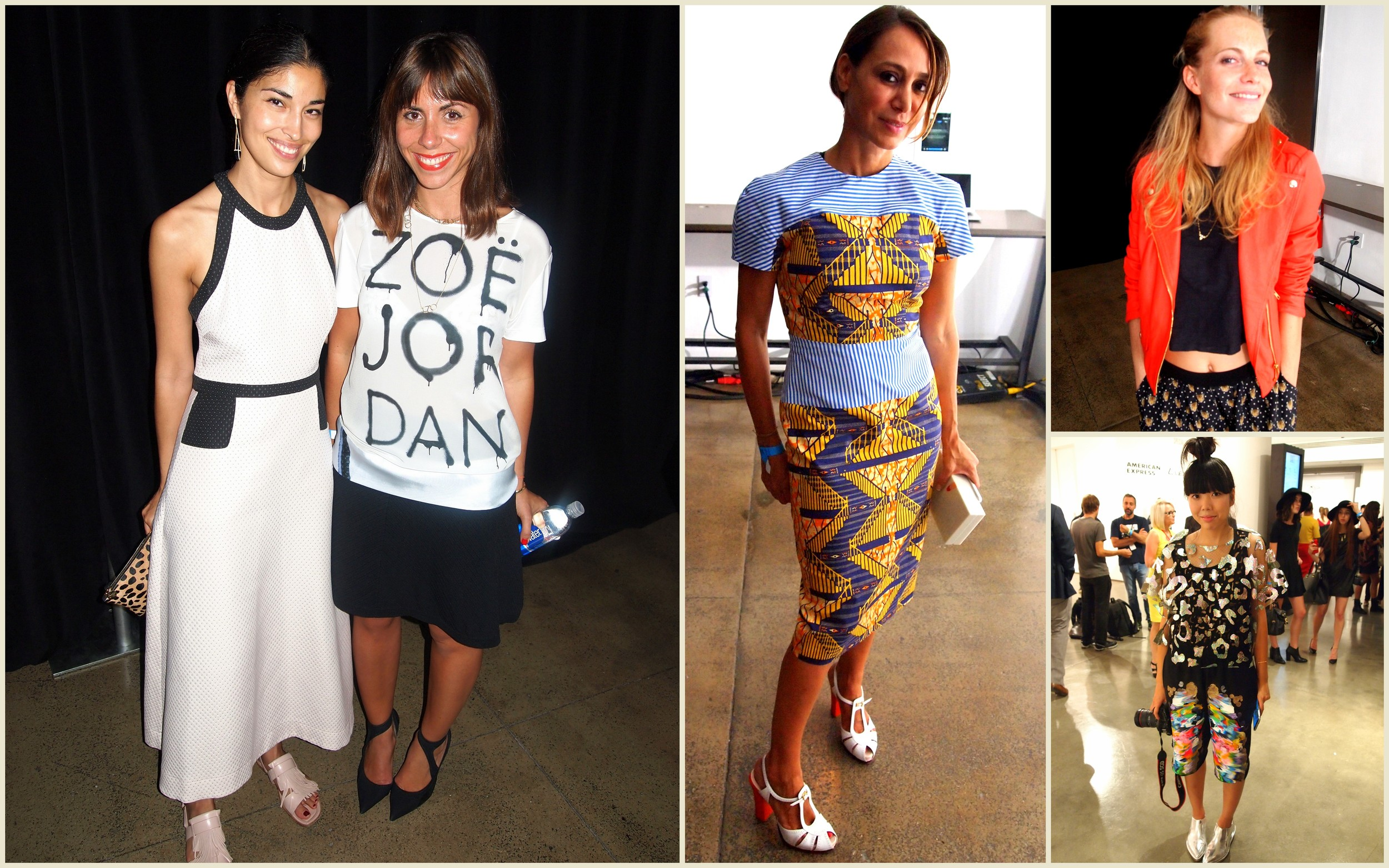 Above (Clockwise) L-R:  Tank Magazine's executive fashion director  Caroline Issa  with  Beatrice Savoretti , Motilo.com's founder  Sofia Barattieri  (see details of her amazing look below),  Poppy Delevingne  and  Suzie Bubble .