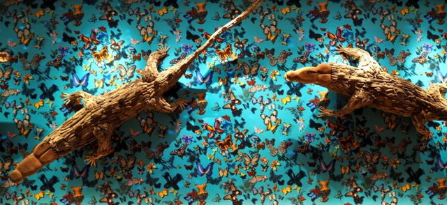 Above:  Driftwood crocodiles and 3D butterflies on the dance floor, next to the bowling alleys (below). Just amazingly fun.