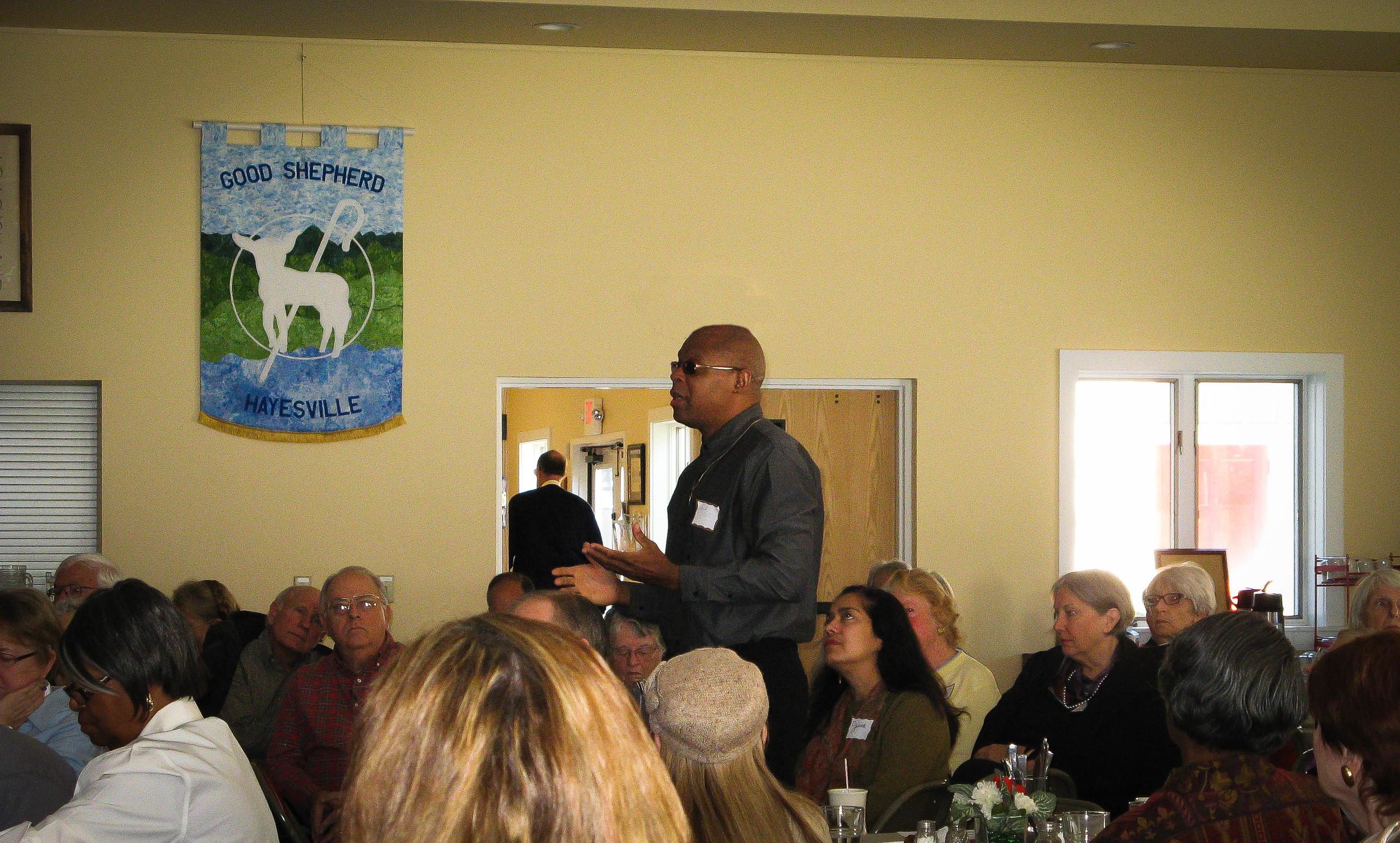 Donald Carter, associate pastor of Fort Henry Baptist Church, speaks eloquently at Good Shepherd's forum on racism.