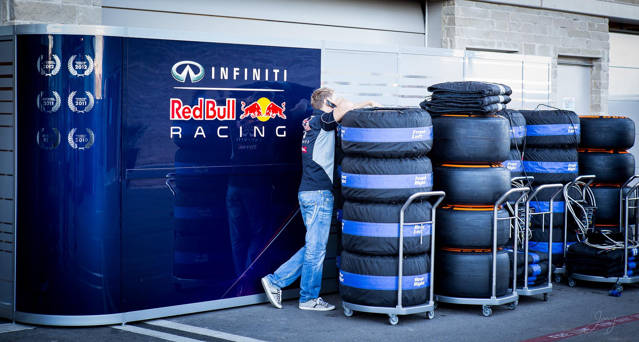 Sebastian Vettel Hides in Tires