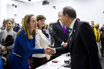 UN Secretary General Ban Ki Moon congratulates Hope Sings founder Beth Blatt on the release of UN Women's anthem (International Women's Day 2013, the United Nations)