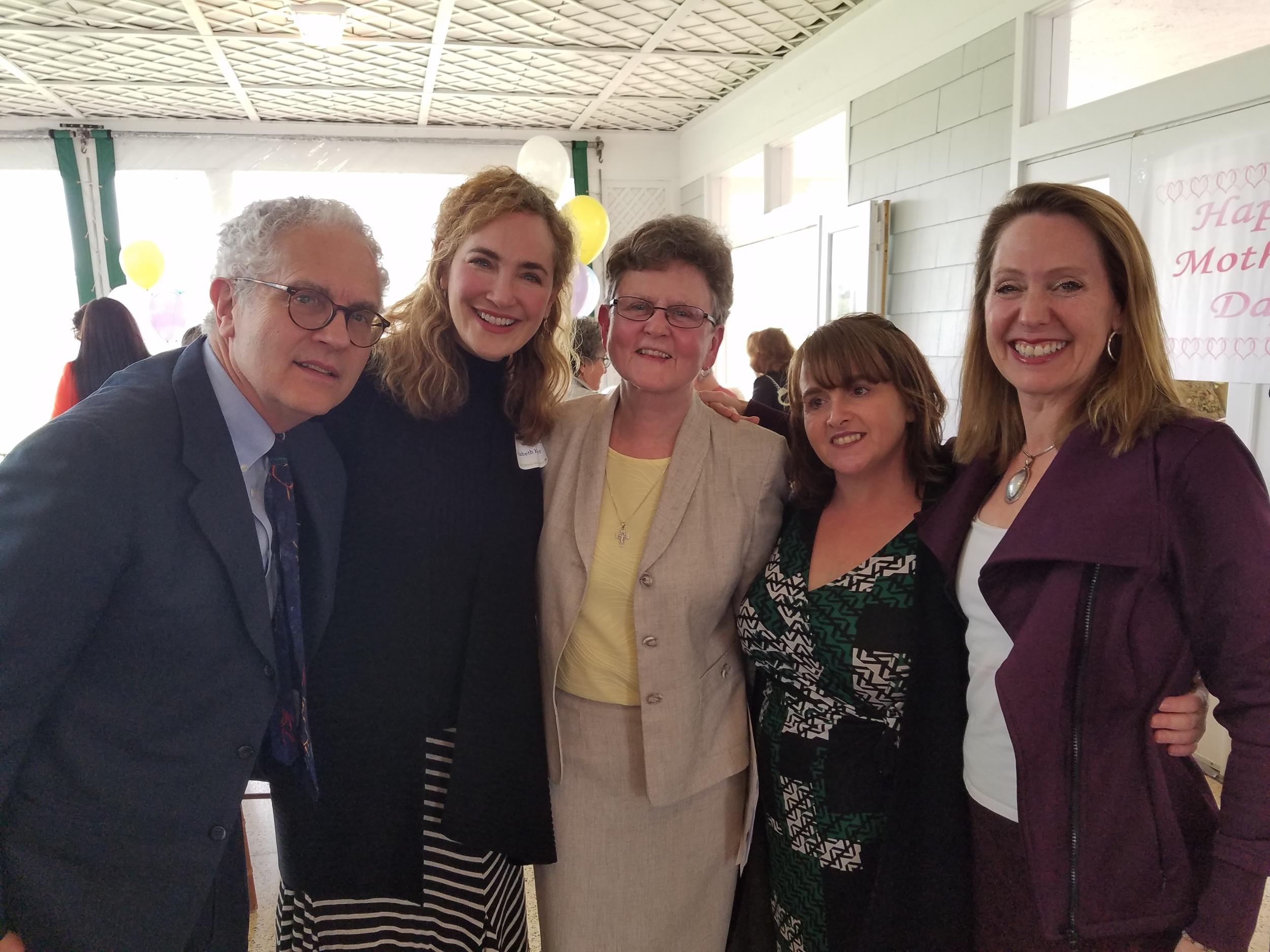 Michael Minard, Elizabeth Kemler, Sister Tesa, Kellie Phelan, and Beth Blatt at the Hour Children luncheon.