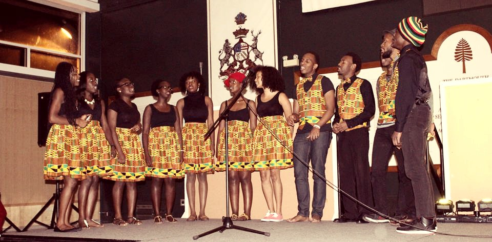 Tyné  (far left) with the Jabulani African Chorus, which she directed at Dartmouth