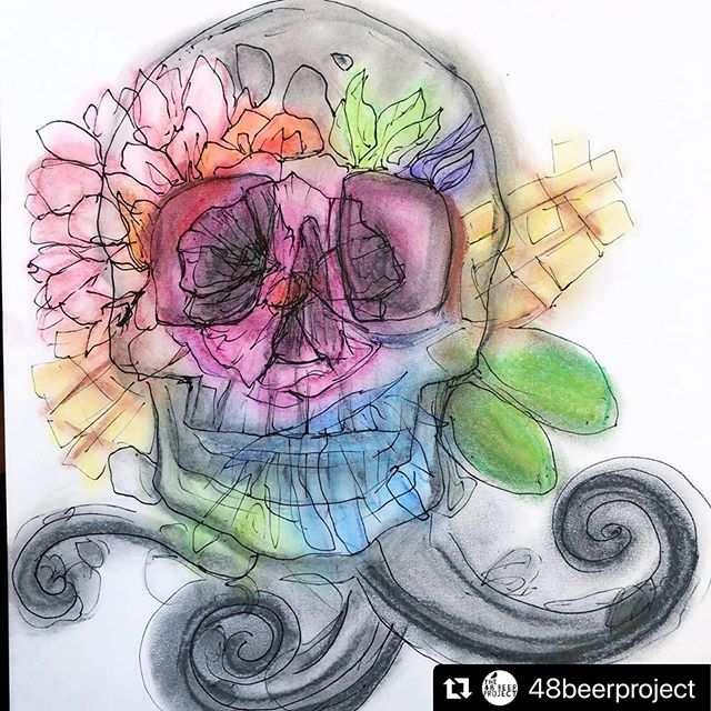 #Repost @48beerproject with @make_repost ・・・ Work in progress. #beerlabel #beerlabeldesign #labelart #illustration #packagingdesign #beer #art #pastel #ink #pendrawing #skull #48beerproject #brewery #pils #pilsner #heidigeist