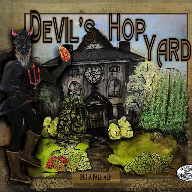 Oh yeah... this one... gotta be honest, I flipping LOVE this label I did for @tumbledownbrew a few years ago 🍻🧡🌟😈 #devilshopyard is also a state park in Connecticut...(the beer is better than the park). #tumbledownbrewing #tumbledownmountain #mainelife #mainehiking #mainecraftbeer #beerme #beer #brewery #48beerproject #art #artist #painting #painter #mixedmediaart #craftbeer #craftbeerporn #drinklocal #beerstagram