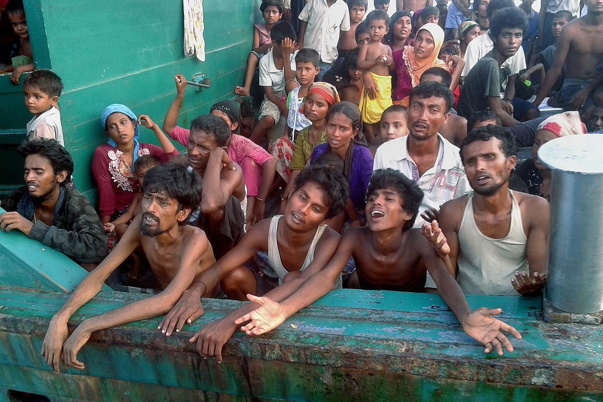 (Christophe Archambault/AFP) Rohingya asylum seekers from Myanmar adrift in the Andaman Sea off the island of Koh Lipe.