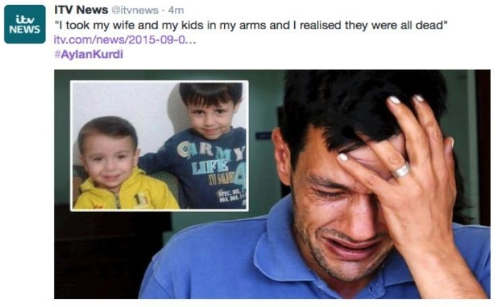 Abdullah Kurdi, 40, father of Syrian boys Aylan, 3, and Galip, 5, who were washed up drowned on a beach near Turkish resort of Bodrum on Wednesday.