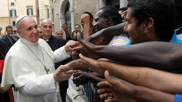 My favourite white-caped superhero, Pope Francis, meets refugees in Turkey