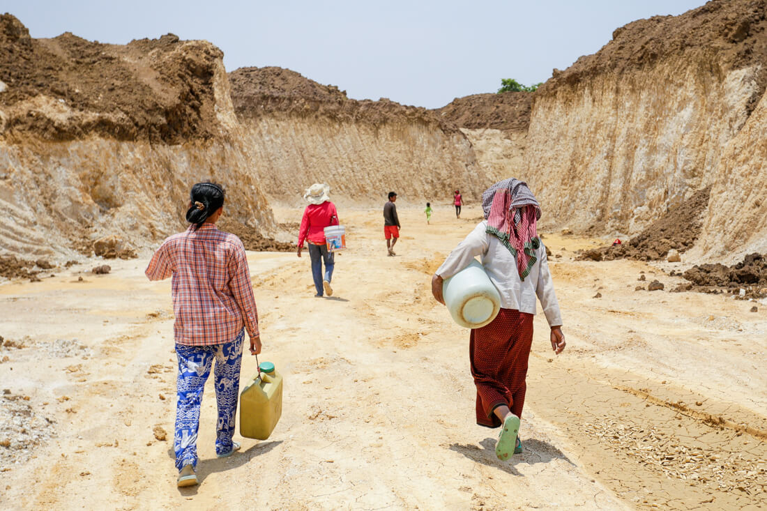 During this month's drought, Cambodian women are walking long distances to find water. No Trump Towers with gold water fountains to be seen unfortunately.