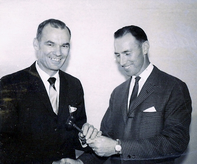Walter Stollen on the left, President of the Kenilworth Manufacturers Association (1965 - 1966).