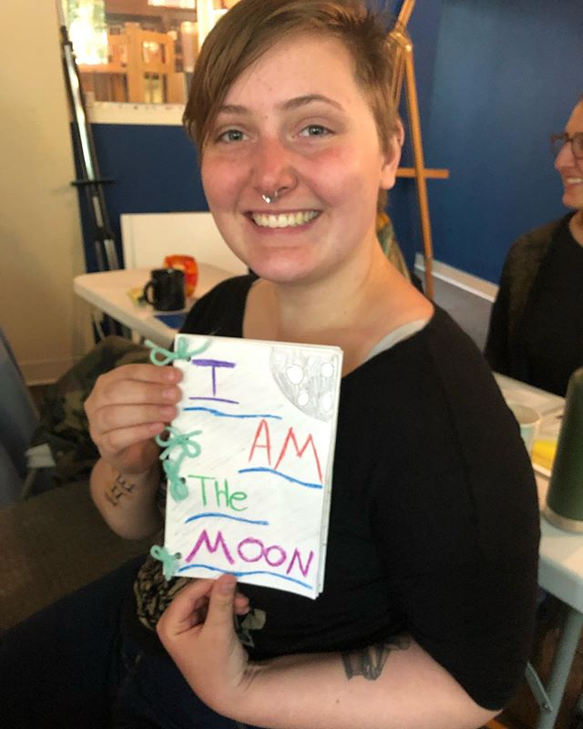 "1st-Year Case Studies: Kali took a leave of absence from academia to relocate from North Carolina to Portland and take our program. True to her Gemini/Sagittarius nature, she produced a booklet of all the Moons with seemingly random (Gem), but helpful and truthful (Sadge) recommendations for your Moon Sign. As a ""#FU!"" to academia, this booklet has all the creative, expressive charm of a 4th grader. Thank you @thekaliope !"
