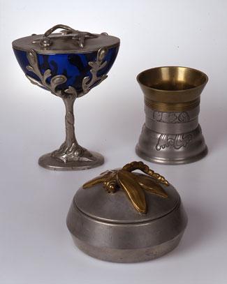 Bonboniere designed by Gundmund Hentze and Cigar Cup designed by Mogens Ballin. Candy dish designer unknown.