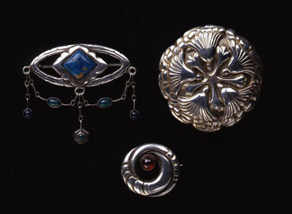 A selection of jewelry designed for the Mogens Ballin workshop. Bottom brooch designed by Mogens Ballin