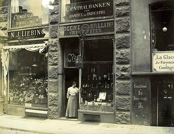 A photograph of the original Mogens Ballin storefront