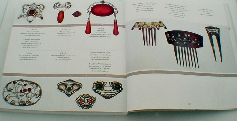 A fine selection of Mogens Ballin jewelry pieces presented in the book on Mogens Ballin released by the Vejen Art Museum