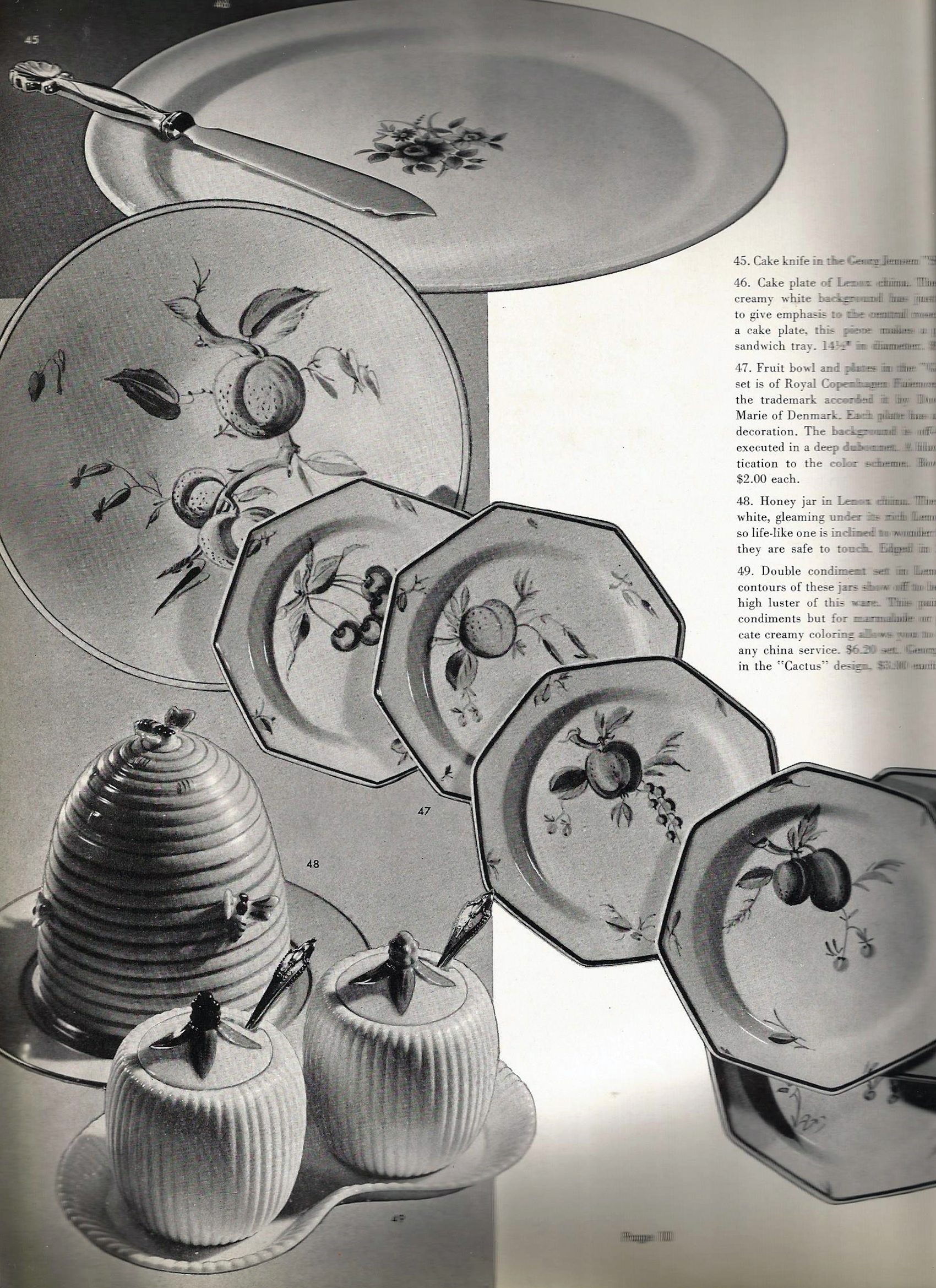 """The catalog is not without its mistakes. Pictured in the lower left corner, are a pair of condiment dishes with spoons they identify as """"Cactus"""". The pattern shown is in fact, Akkeleje. In the top left, however, is a beautiful example of the Georg Jensen Shell pattern, #102."""