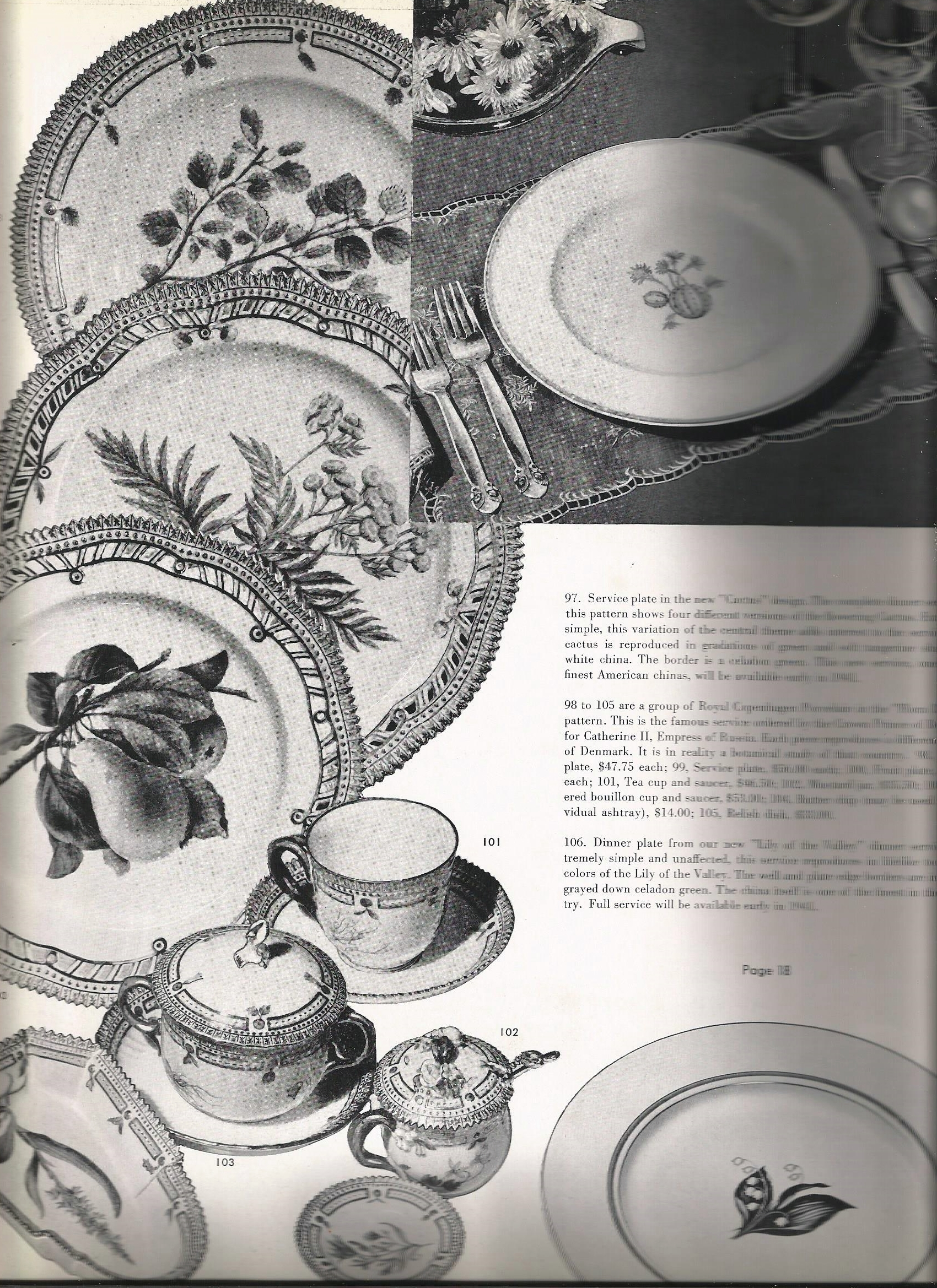 "Another stunning photograph of a Georg Jensen place setting, this time in Bittersweet (misidentified in the catalog as ""Cactus"").   Note also the Blossom spoon sticking slightly out of the sugar pot 102."