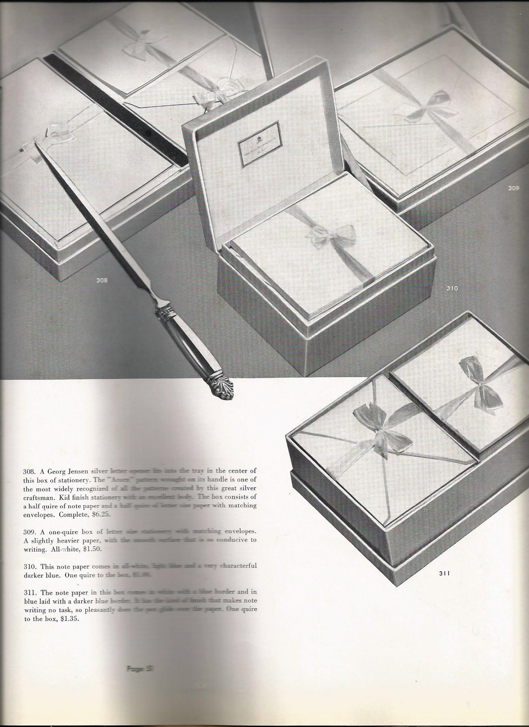 On this page, another exquisite Georg Jensen piece, an Acanthus letteropener is displayed among the stationery items.