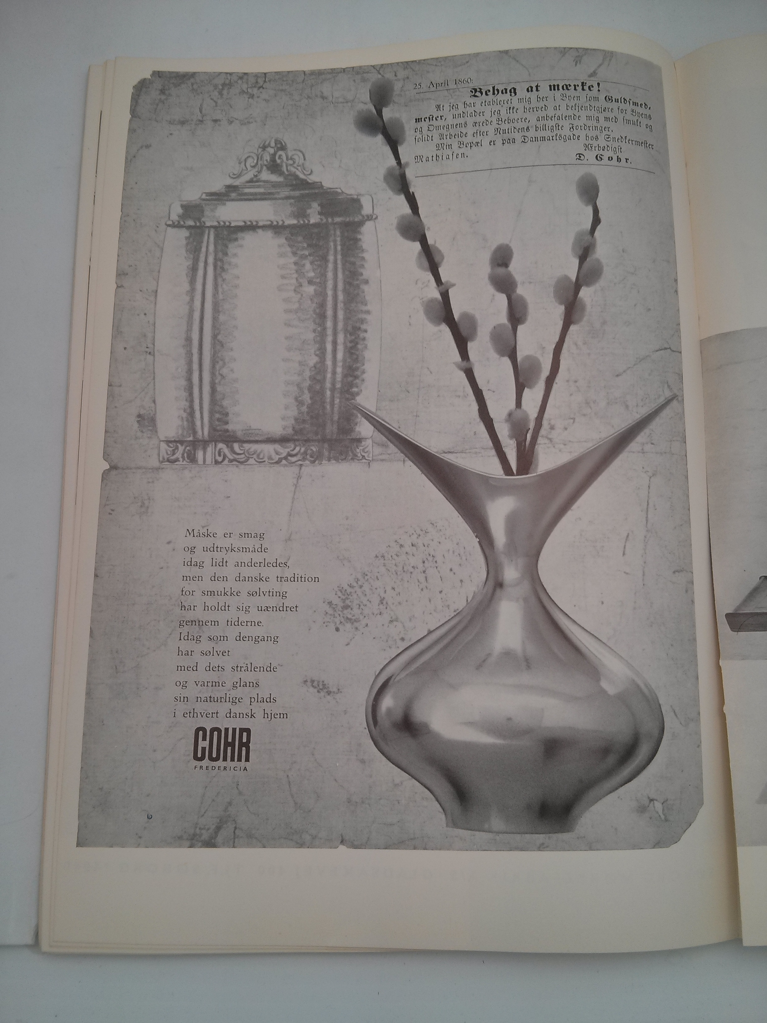 Two beautiful hollowware pieces are featured in this advertisement for Cohr.