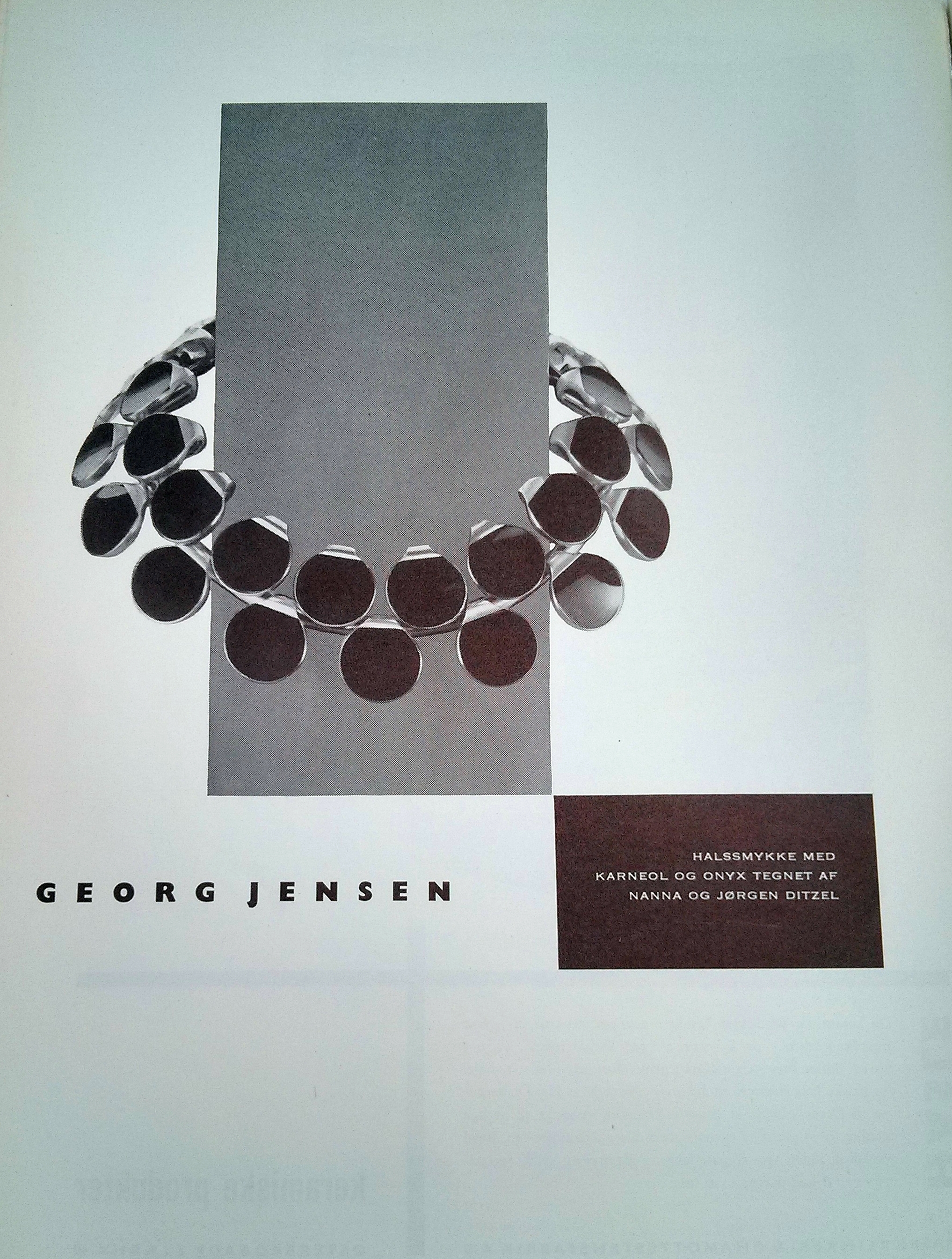 A beautiful Georg Jensen advertisement that featured a necklace featured in this issue of the magazine.