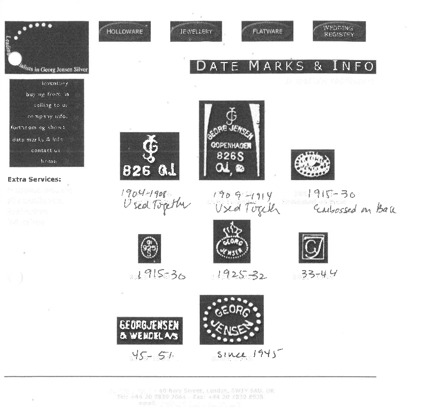 Here are some older examples of the hallmarks in use. Scroll further down to see various examples of the more interesting hallmarks we have had in our possession.