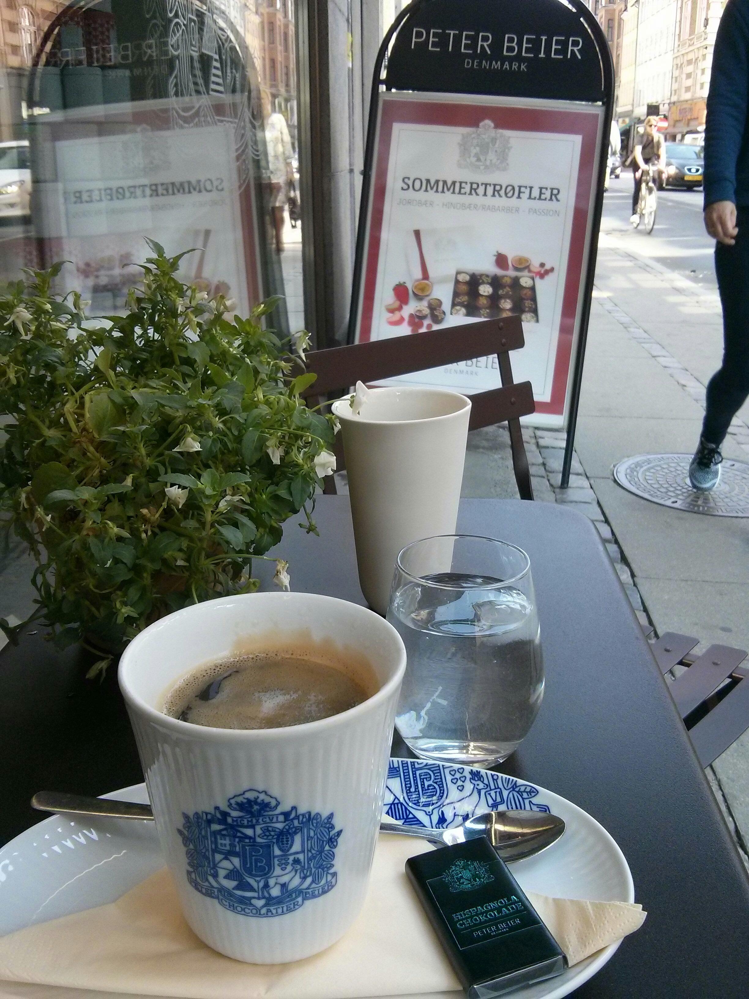 coffee, store kongensgade ( http://www.pbchokolade.dk/gb/ )and watching the interesting crow walking by.