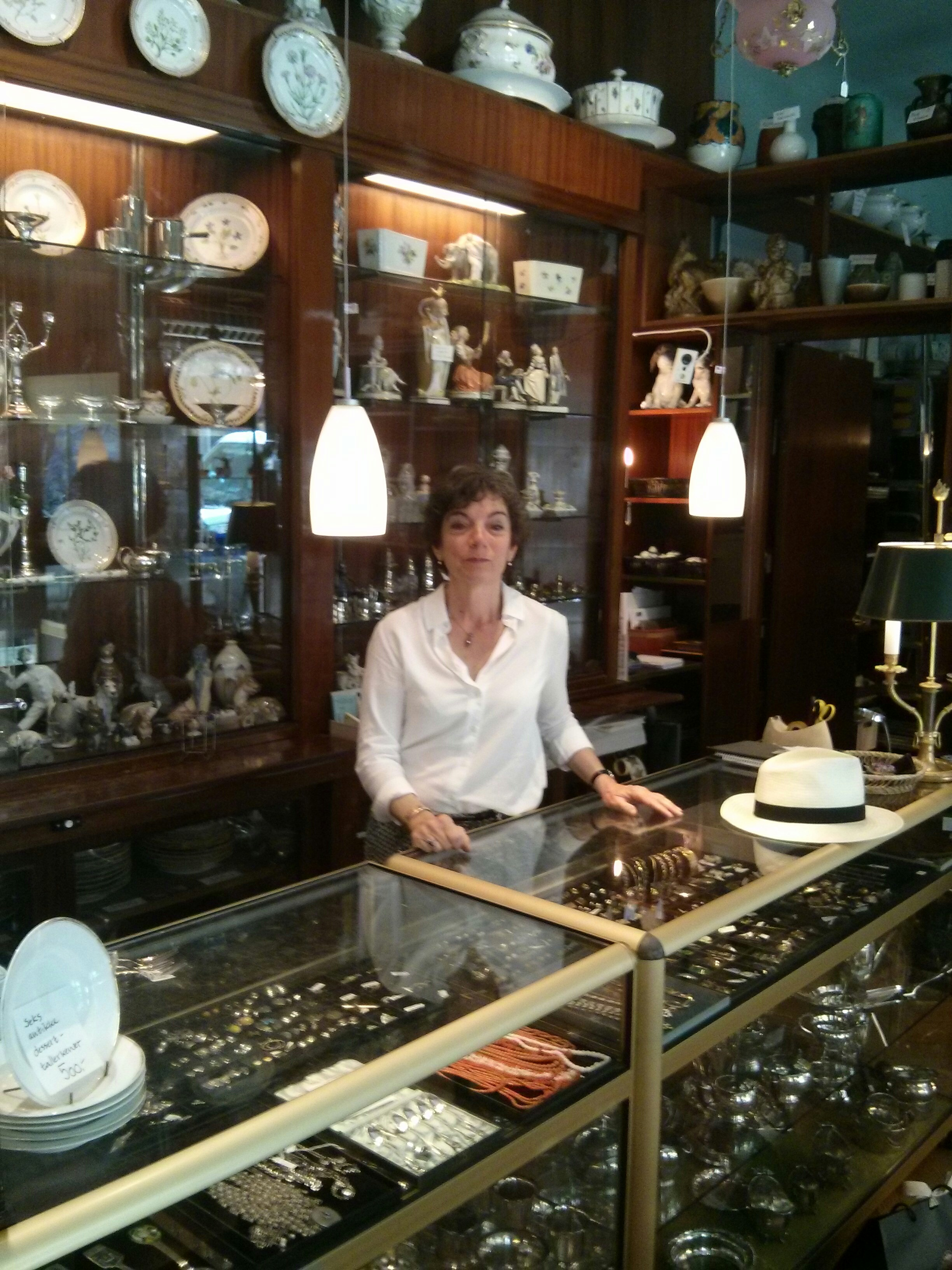 in her shop, ira harttogsohn, the owner and daughter of the founder ketti hartogsohn. i have visited the shop many times, always a good smell of the old days. good people to deal with.
