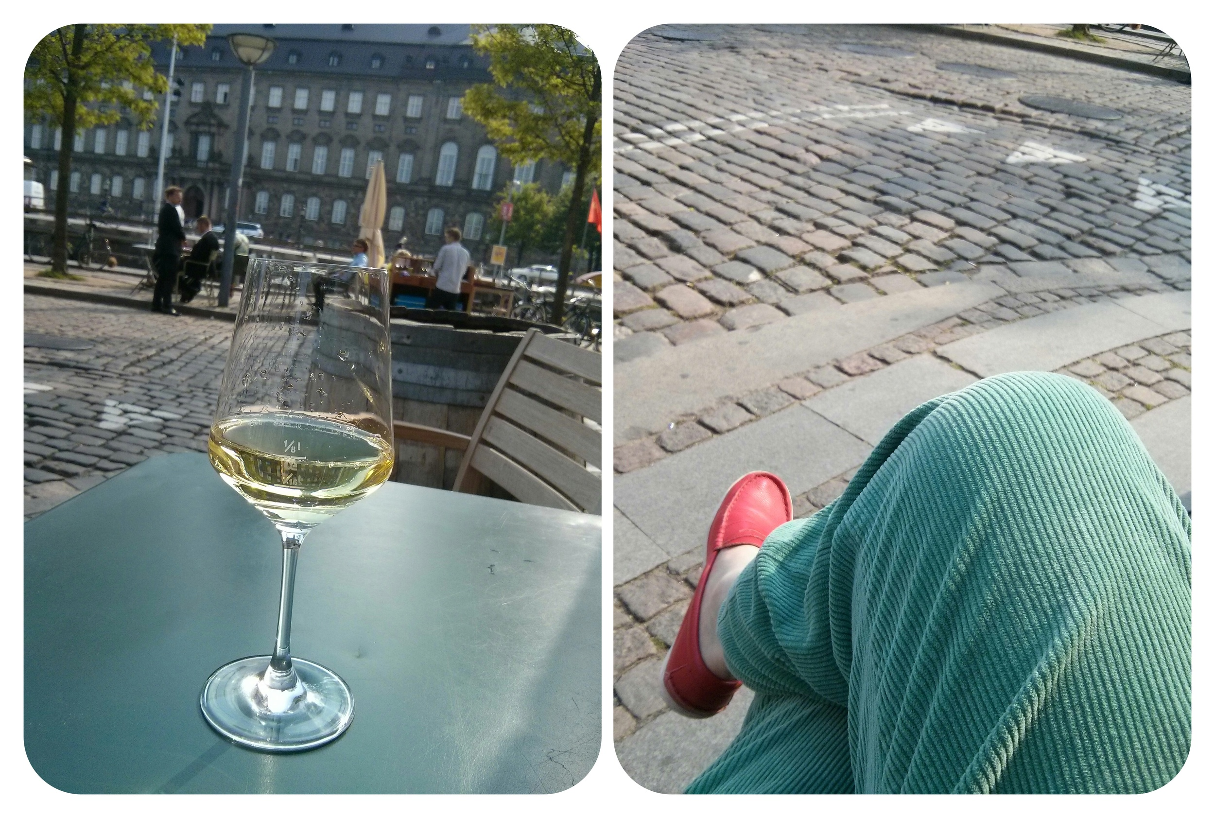 a glass of expensive white wine, relaxing,enjoying the view to the government building christiansborg and as well the canal. good to be here.
