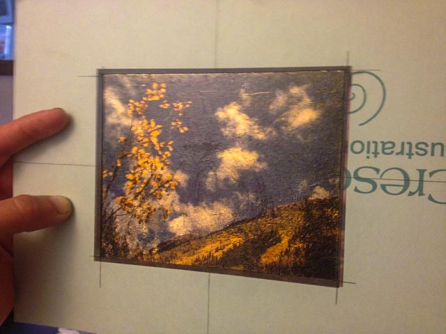 For this first experiment, I wanted an image that would highlight the gold leaf, so Aspen trees in fall seemed like an obvious choice - I never think that paper does the gold leaves of fall justice when printed. The print quality was better than I hoped, but I need to improve my technique for laying the gold leaf more smoothly. I also attempted to smooth it with a soft steel wool, but that was not a good choice as it scratched the surface even with light pressure.