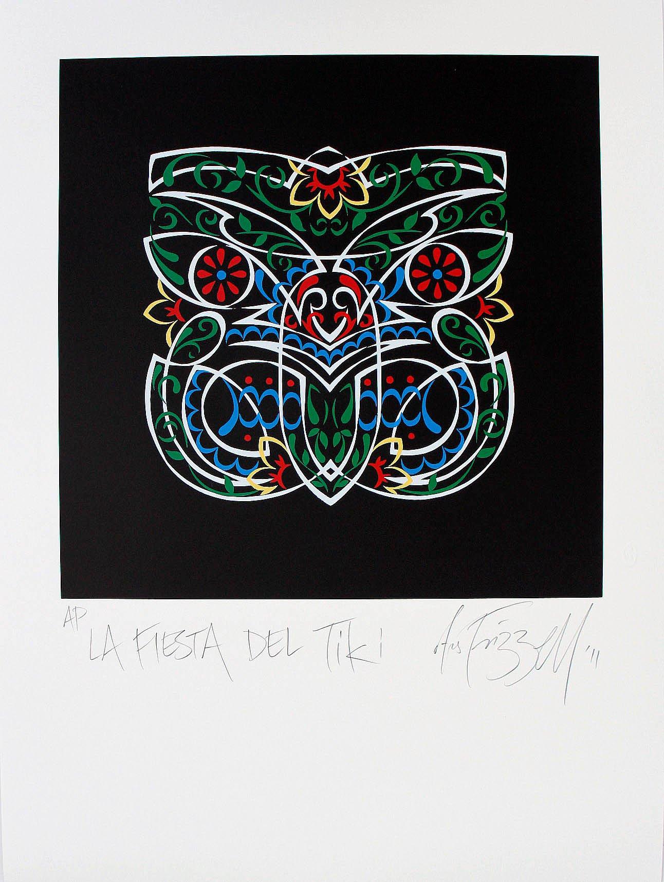 Otis Frizzell     - new screen print...      'La Fiesta Del Tiki'     MexiHori Folk Art mash-up...   The full fruit...    <<< 'AP' added to the ARTIVIST collection