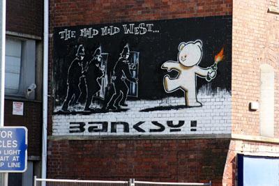 Life imitates Banksy's art in Stokes Croft Bristol