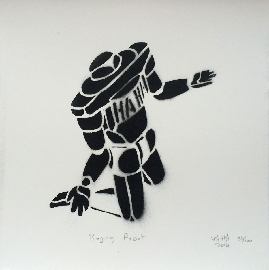 Praying Robot   HAHA 2014   limited edition of 25.   200mm x 200mm ;   stencil aerosol (Montana) on fine art paper
