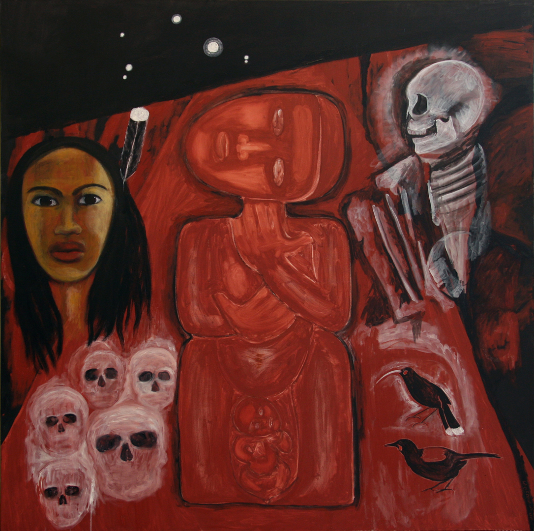 Robyn Kahukiwa -  Nga Tamariki a Tane  oil/alkyd oil on canvas, 122 x 122cm, 2015, $10,750