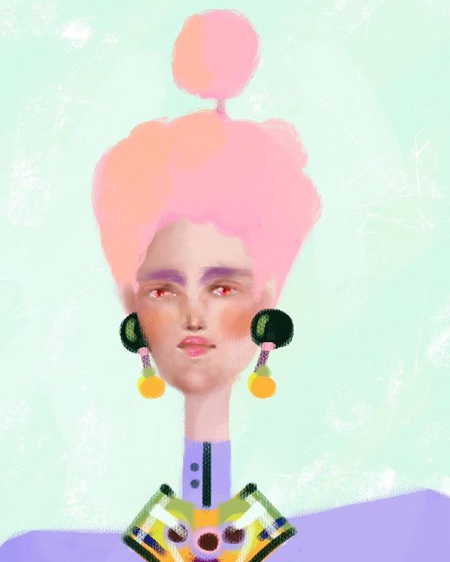 Cotton head lady . 🌸🍥🍡🍬 -  #creativecloud  #artisticmoods #artists_community #illustrationoftheday #digitalpainting #holatania #digitalillustration #mariaantonieta #patterndesign #illustration #adobeink #kawaiigirl #kawaii #portraitillustration  #illustrationnow #procreateapp #beautifulbizarre