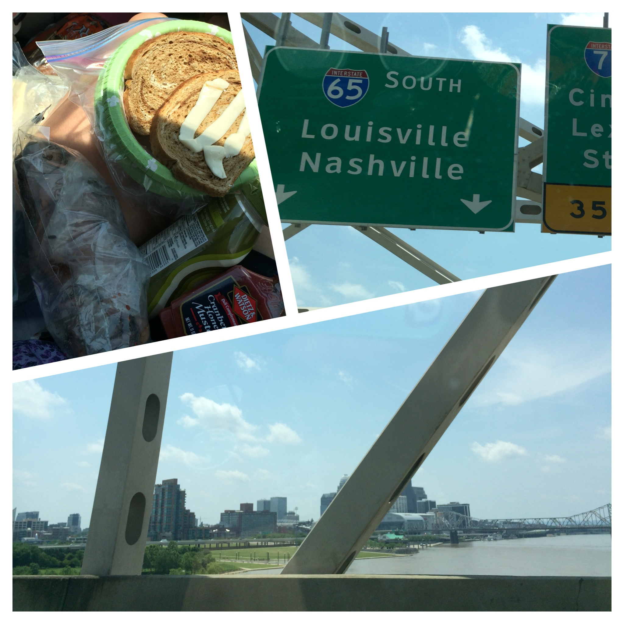Lunchtime in the car, headed towards Louisville!