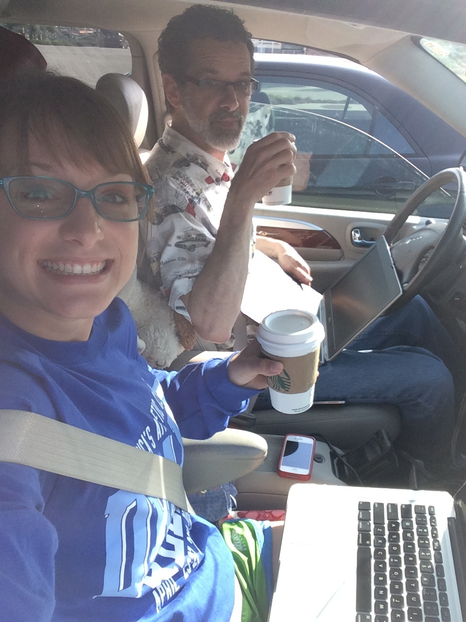 Driving and working during coffee break